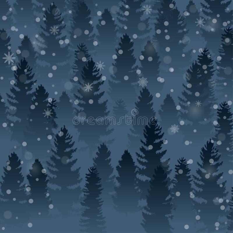 Ciao fondo del paesaggio della foresta di inverno e del pino dell'albero illustrazione di stock