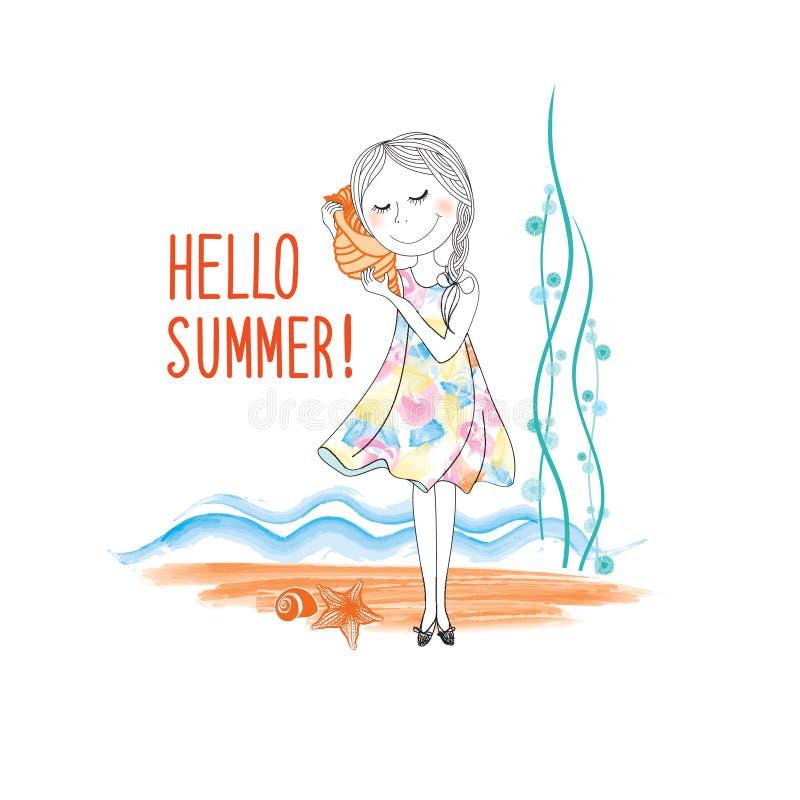 Download Ciao Fondo Della Spiaggia Di Estate La Ragazza Felice Ascolta Conchiglia Illustrazione di Stock - Illustrazione di nave, disegno: 117975819