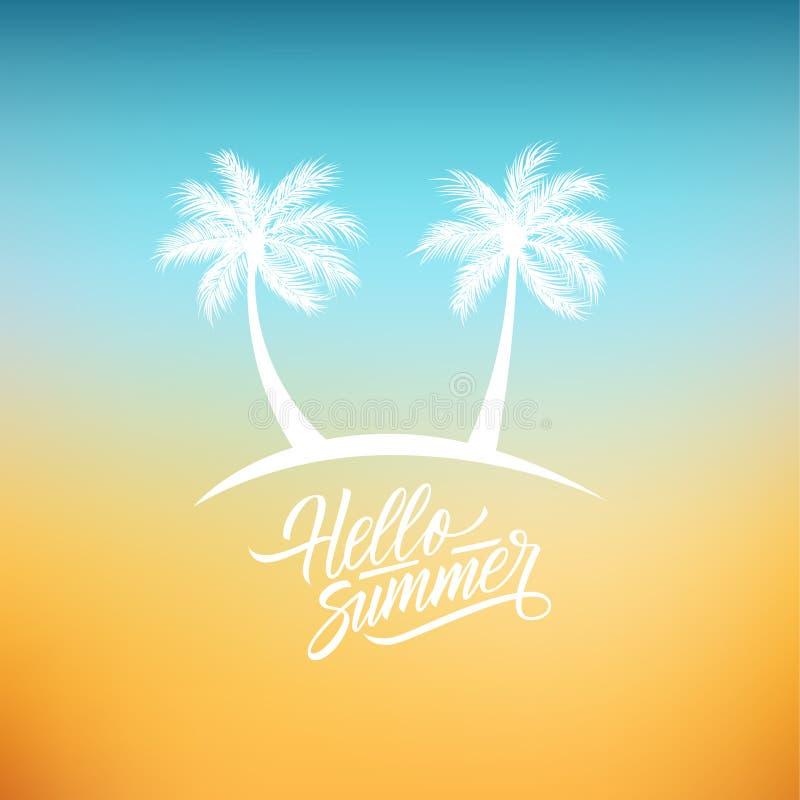 Ciao fondo di estate con le palme scritte a mano di progettazione e del testo dell'iscrizione royalty illustrazione gratis