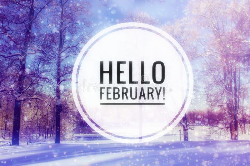 Ciao foto di febbraio L'inizio del nuovo anno Cartolina d'auguri immagini stock libere da diritti