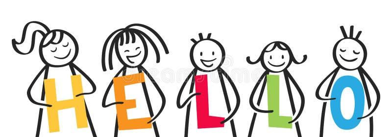 CIAO, gruppo sorridente di figure del bastone che tengono le lettere variopinte, indirizzo benvenuto royalty illustrazione gratis