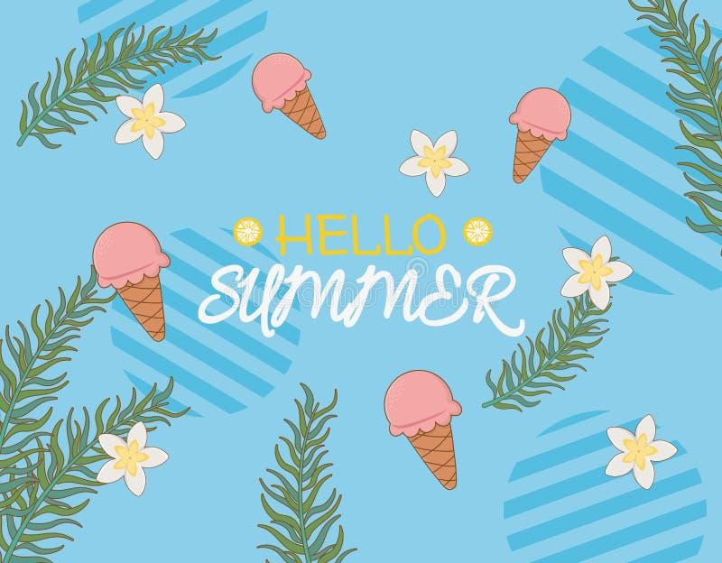 Ciao il manifesto dell'estate con gelato e copre di foglie palme illustrazione di stock