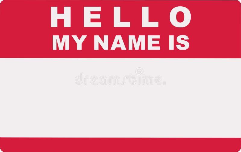 ciao Il mio nome è Etichetta dell'etichetta illustrazione di stock