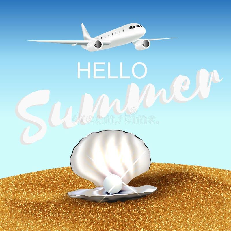 Ciao illustrazione di estate con la sabbia piana e coperture con la perla illustrazione vettoriale