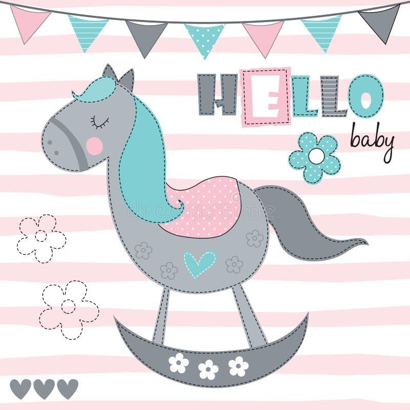 Ciao illustrazione di vettore del cavallo a dondolo del bambino illustrazione vettoriale