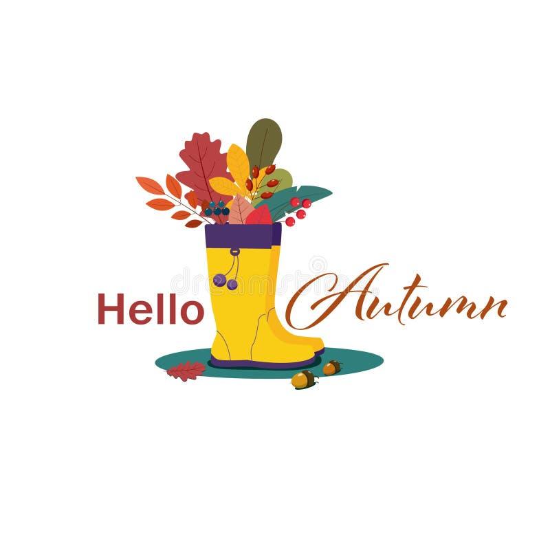 Ciao illustrazione piana di stile di autunno illustrazione di stock
