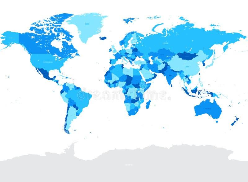 Ciao illustrazione politica della mappa di mondo di vettore blu del dettaglio illustrazione di stock