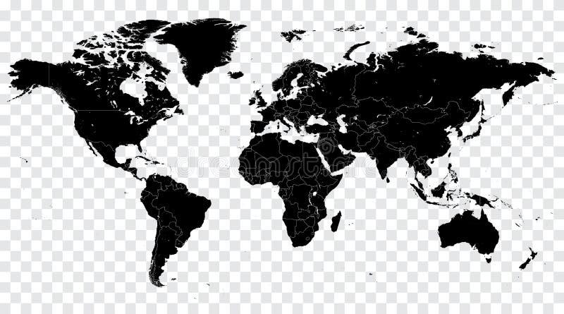 Ciao illustrazione politica della mappa di mondo di vettore nero del dettaglio royalty illustrazione gratis