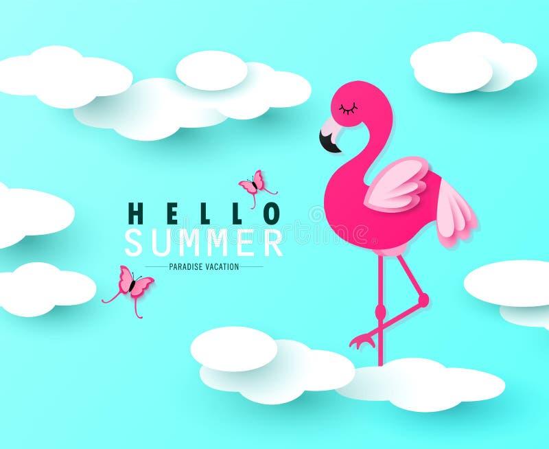 Ciao insegna di estate con il fenicottero, le farfalle e le nuvole rosa dolci su fondo blu Arte di carta Illustrazione di vettore illustrazione vettoriale
