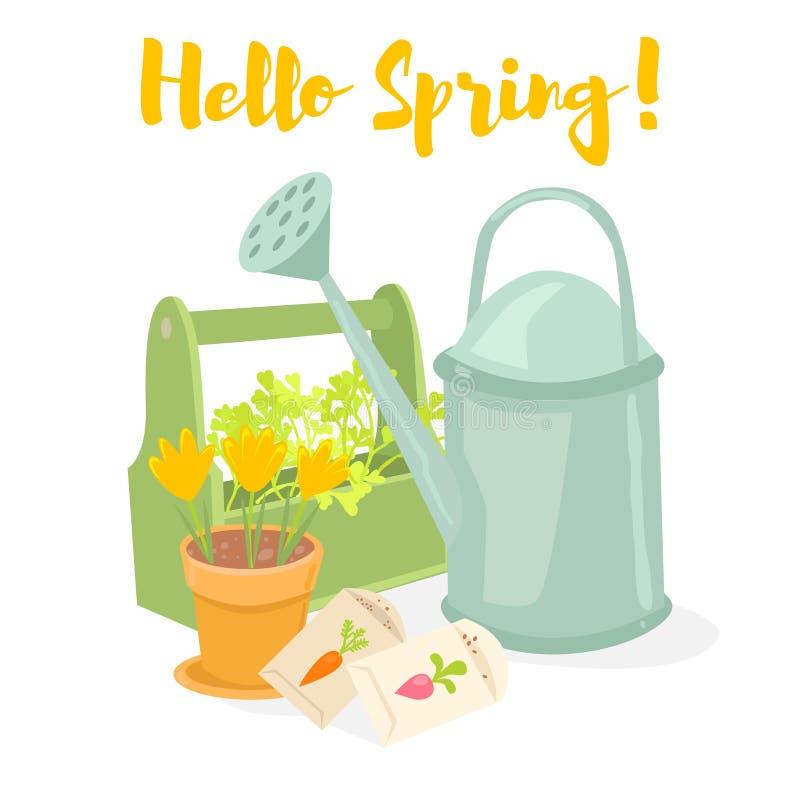 Ciao insegna di giardinaggio della molla Annaffiatoio, scatola con le erbe, vaso con i croco, semi Illustrazione di vettore immagini stock libere da diritti