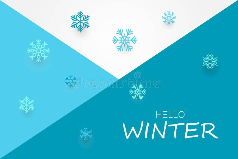 Ciao insegna di inverno con i fiocchi di neve illustrazione vettoriale
