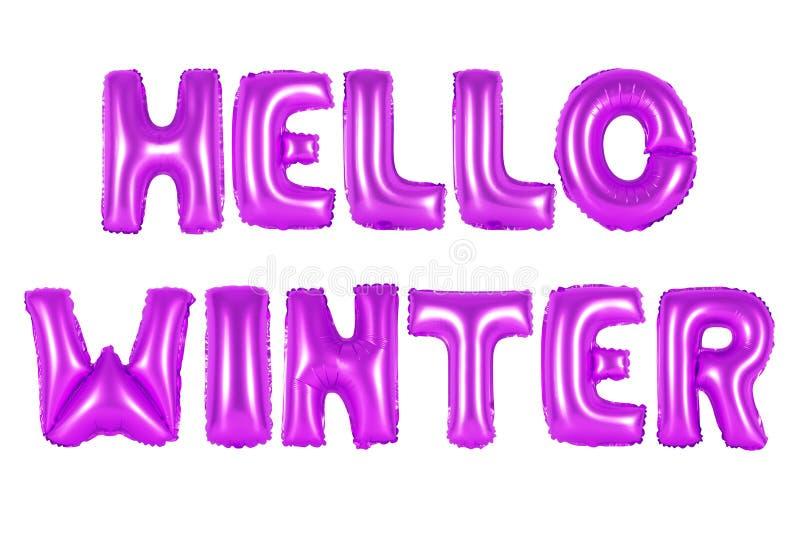 Ciao inverno, colore porpora immagine stock libera da diritti