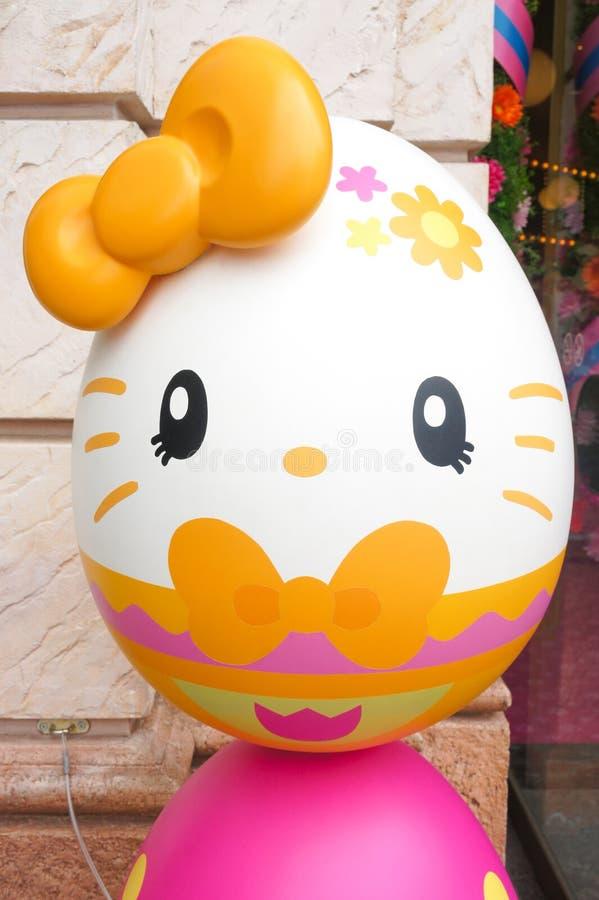 Ciao Kitty Easter Egg allo studio universale Osaka, Giappone fotografie stock libere da diritti