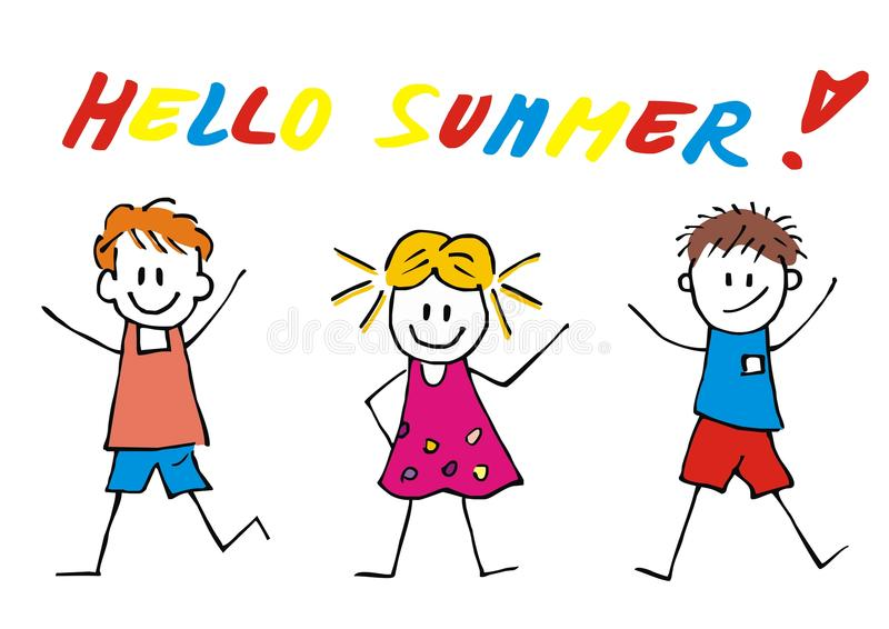 Ciao l'estate, tre bambini felici, vector l'illustrazione divertente illustrazione di stock