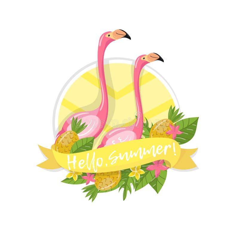Ciao l'etichetta dell'estate, l'elemento di progettazione con le foglie di palma, i fiori, gli ananas ed il fenicottero coppia l' illustrazione di stock