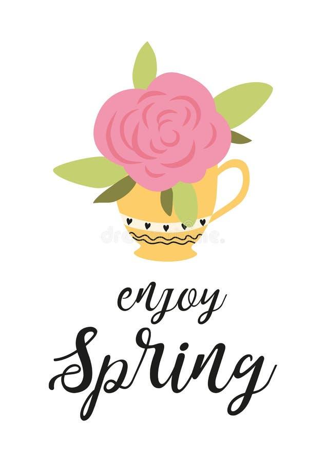 Ciao l'insegna della molla con la rosa di fioritura rosa in tazza è aumentato sull'illustrazione bianca di vettore del fondo royalty illustrazione gratis