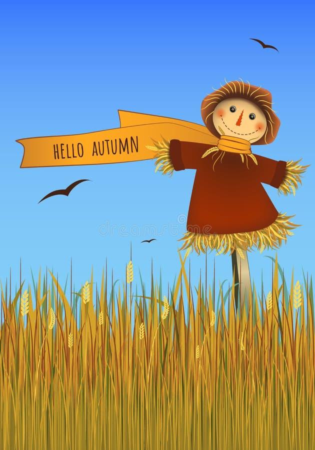 ciao manifesto di autunno Spaventapasseri sorridente sul campo Immagine di vettore royalty illustrazione gratis