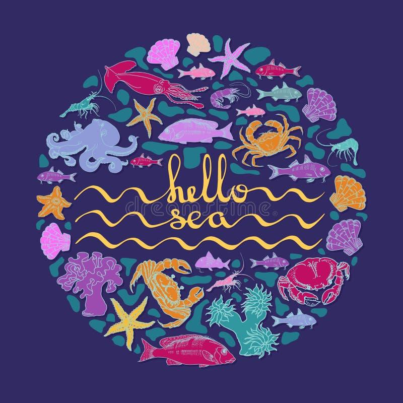 Ciao mare Carta di vettore con testo scritto a mano, creature del mare illustrazione di stock