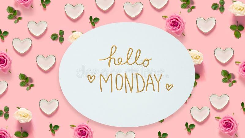 Ciao messaggio di lunedì con le rose ed i cuori fotografia stock