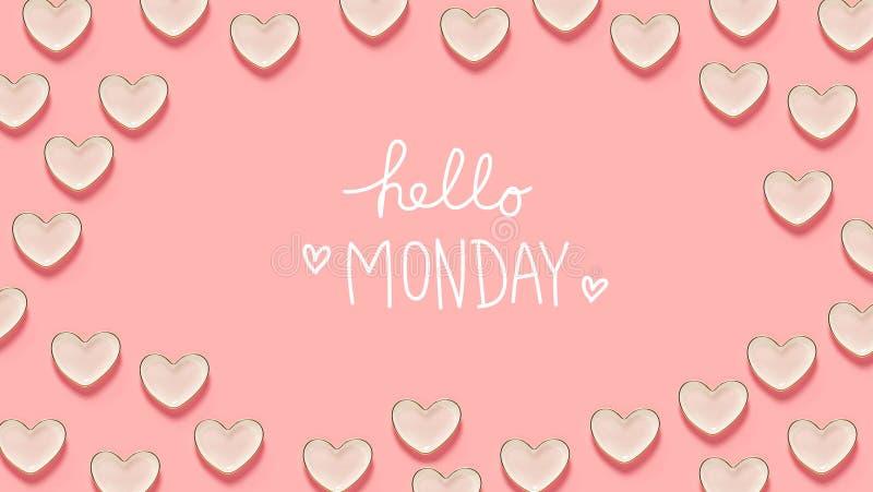 Ciao messaggio di lunedì con molti piatti del cuore illustrazione di stock