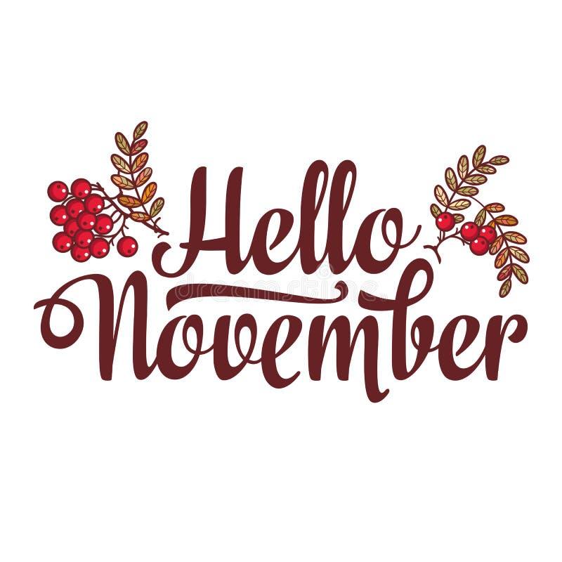 Ciao novembre aletta di filatoio della composizione nell'iscrizione o modello dell'insegna Vendita del testo illustrazione vettoriale