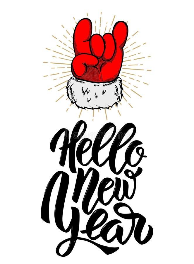 Ciao nuovo anno Mano di Santa Claus con il segno di rock-and-roll Progetti l'elemento per il manifesto, la carta, insegna illustrazione di stock