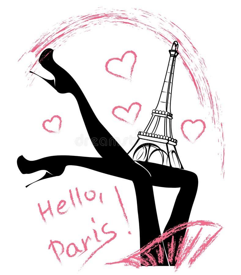 Ciao, Parigi Ragazza di modo vicino alla torre Eiffel illustrazione vettoriale