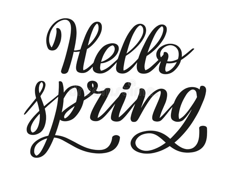 Ciao primavera Iscrizione della penna della spazzola Vettore illustrazione di stock
