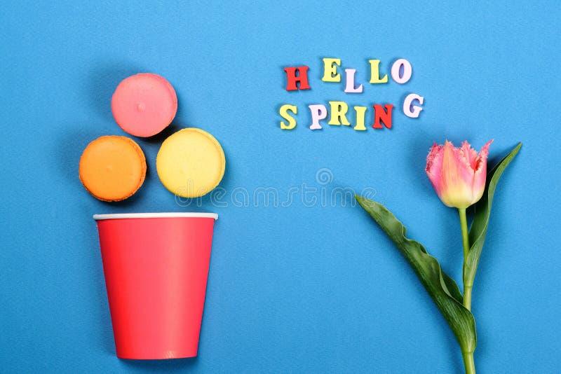 Ciao primavera Maccheroni di carta delle pasticcerie e della tazza di caffè Tulipano della primavera su fondo di carta blu Stile  fotografia stock