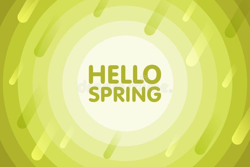 Ciao primavera Progettazione moderna della copertura Illustrazione stagionale di vettore Fondo astratto con il giro geometrico ve illustrazione vettoriale