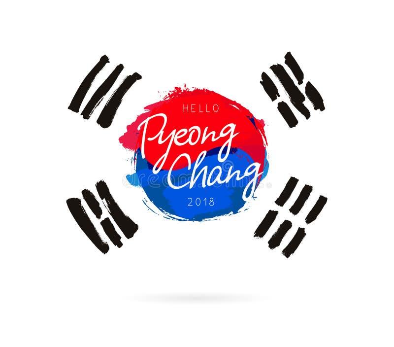 Ciao Pyeonchang Bandiera della Repubblica Coreana royalty illustrazione gratis