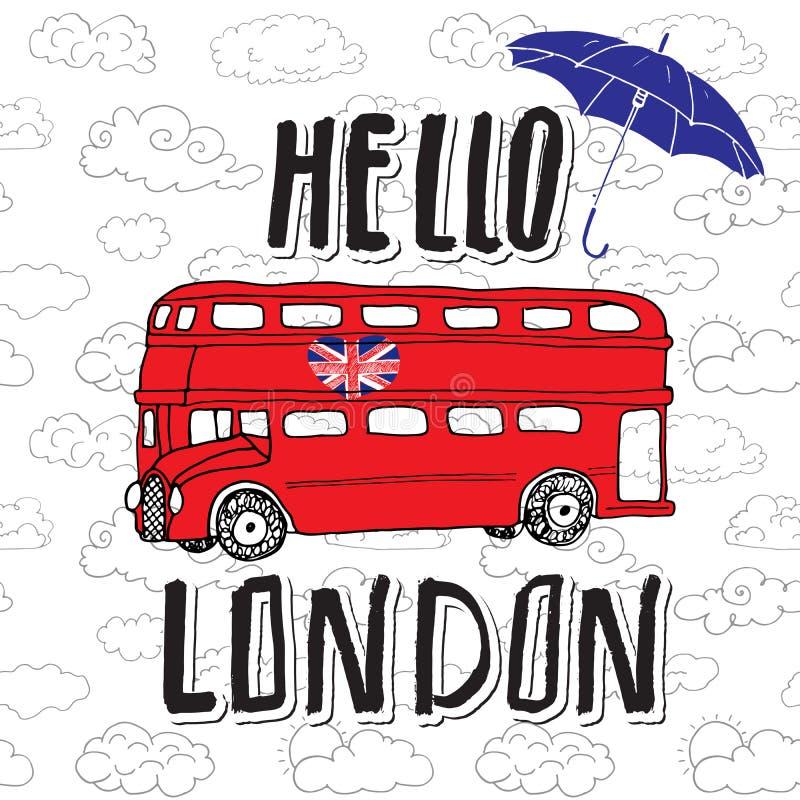 Ciao segno dell'iscrizione della mano di Londra con l'ombrello illustrazione di stock