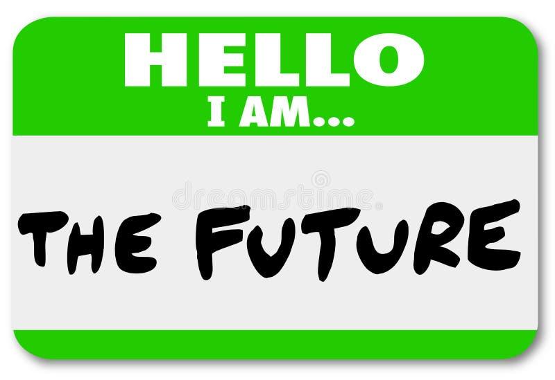 Ciao sono il cambiamento futuro dell'autoadesivo del Nametag illustrazione vettoriale