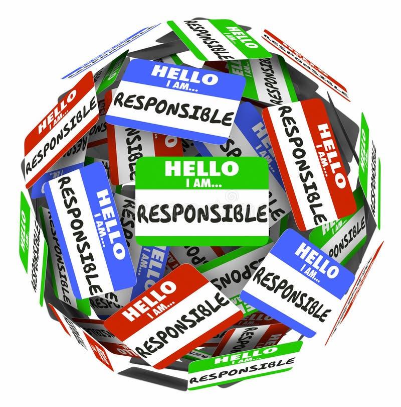 Ciao sono la responsabilità responsabile della sfera delle etichette di nome royalty illustrazione gratis