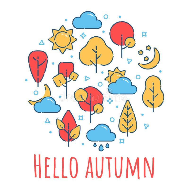 Ciao stampa del paesaggio di autunno illustrazione di stock