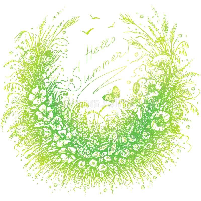 Ciao struttura floreale di estate illustrazione di stock