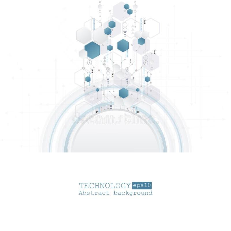 Ciao-tecnologia astratta, ingegneria, macchina, concetto di tecnologia Fondo futuristico astratto di tecnologia di vettore illustrazione di stock