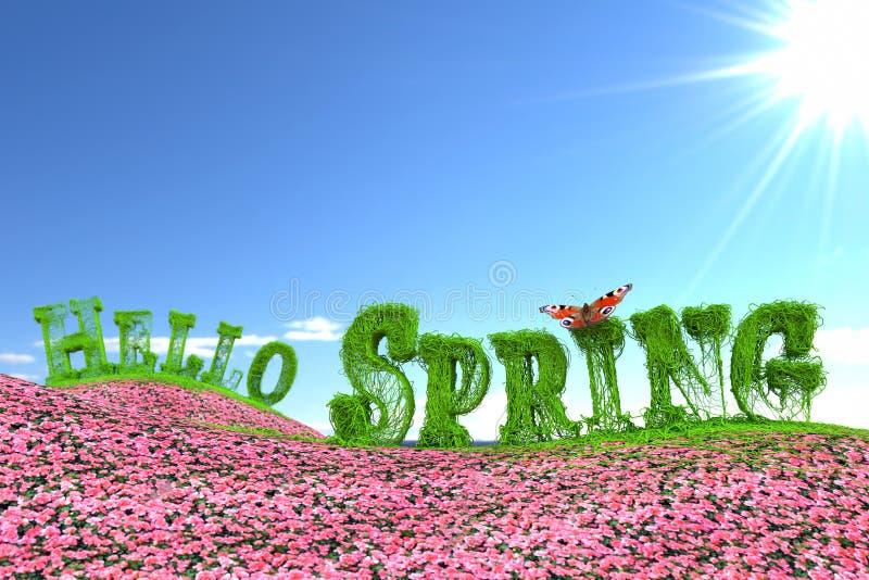 Ciao testo della primavera sul prato floreale illustrazione di stock