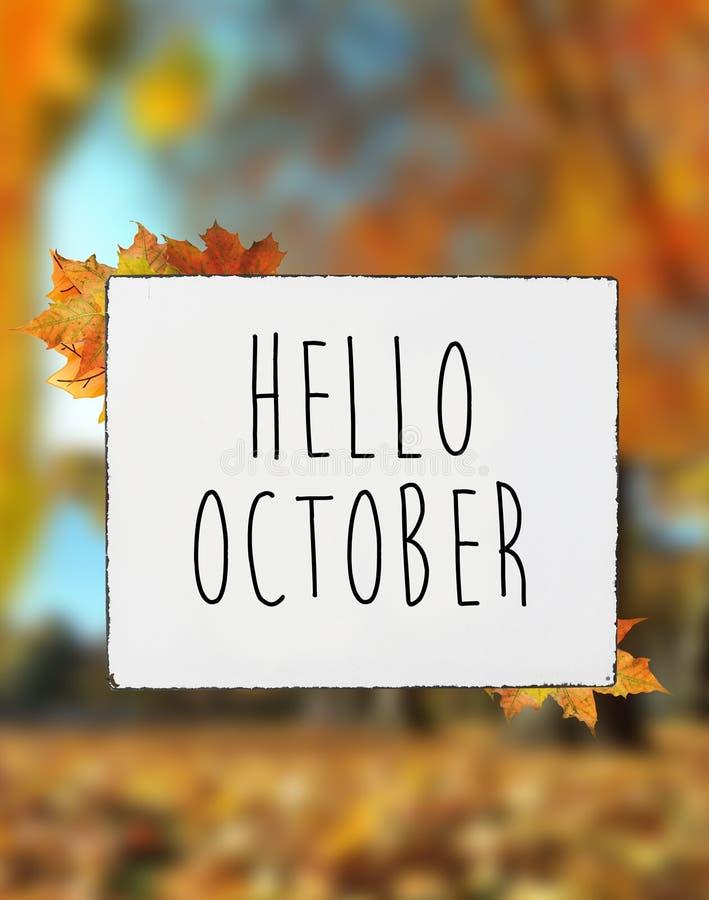 Ciao testo di autunno di ottobre sul leav bianco di caduta dell'insegna del conteggio su placchetta fotografia stock