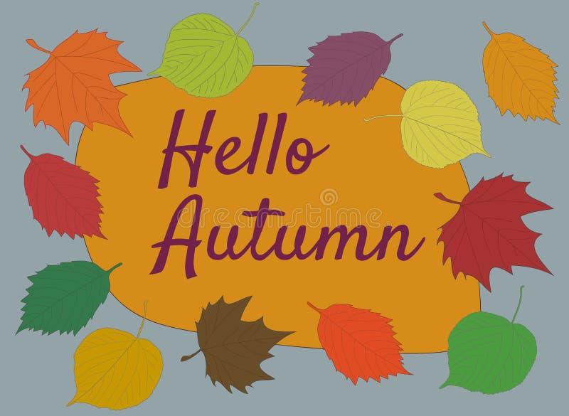 Ciao testo di calligrafia di autunno su fondo arancio e grigio con illustrazione di stock