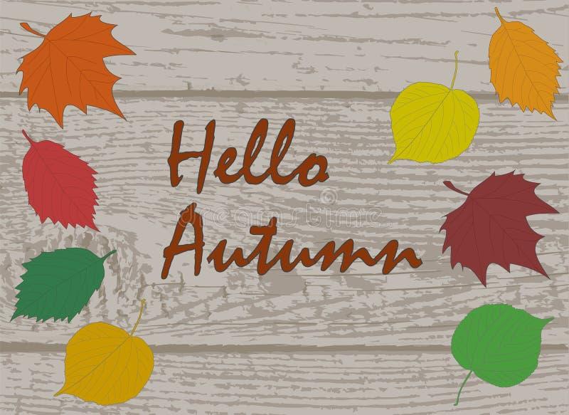 Ciao testo di calligrafia di autunno sul bordo di legno della plancia con il colorfu illustrazione di stock