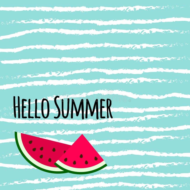 Ciao testo di estate con le fette variopinte sveglie dell'anguria sulla b blu royalty illustrazione gratis