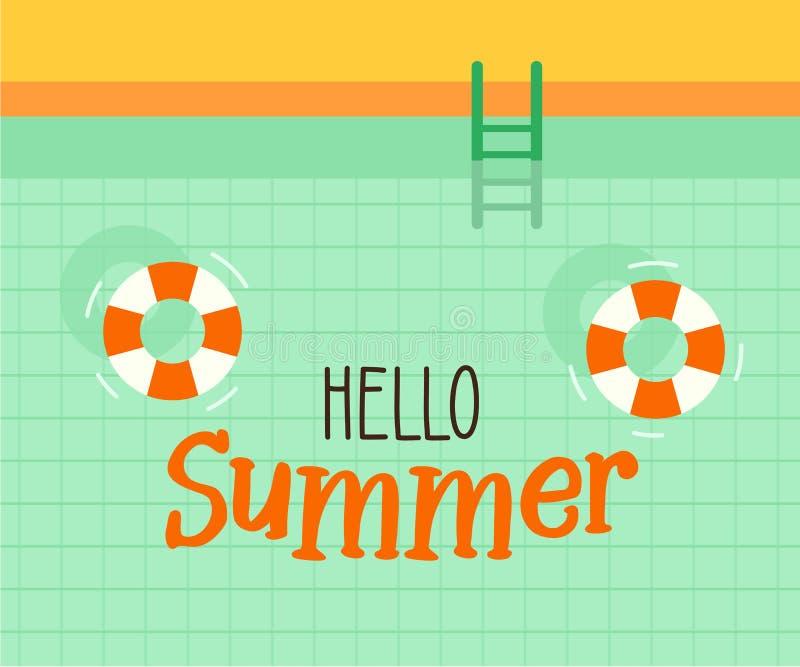 Ciao testo di estate con un fondo della piscina Progettazione dell'illustrazione di vettore per le feste stagionali, vacanze, loc illustrazione di stock