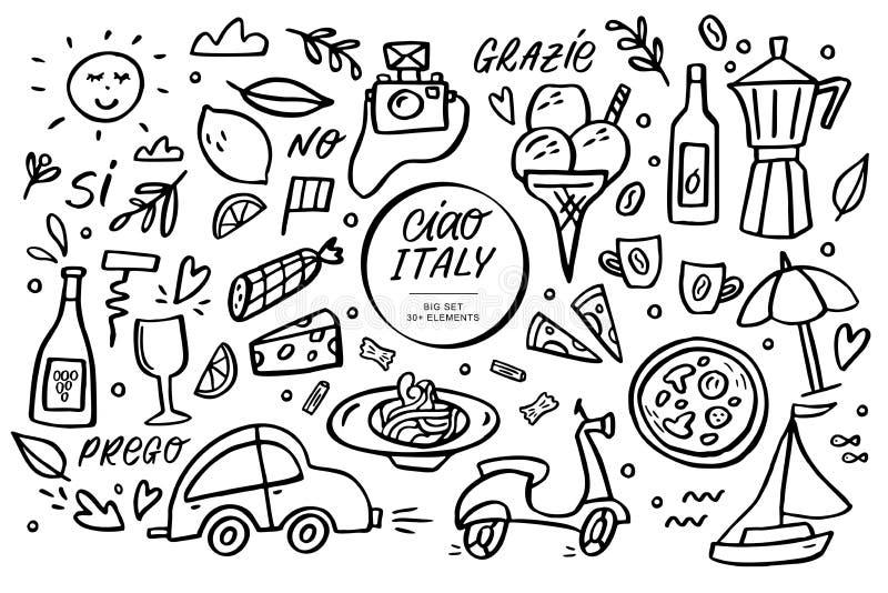 Ciao Włochy doodle duży set Wektorowa ilustracja i handlettering z tradycyjnymi symbolami Włochy royalty ilustracja
