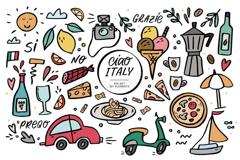 Ciao Włochy duża wektorowa ilustracja i handlettering set royalty ilustracja