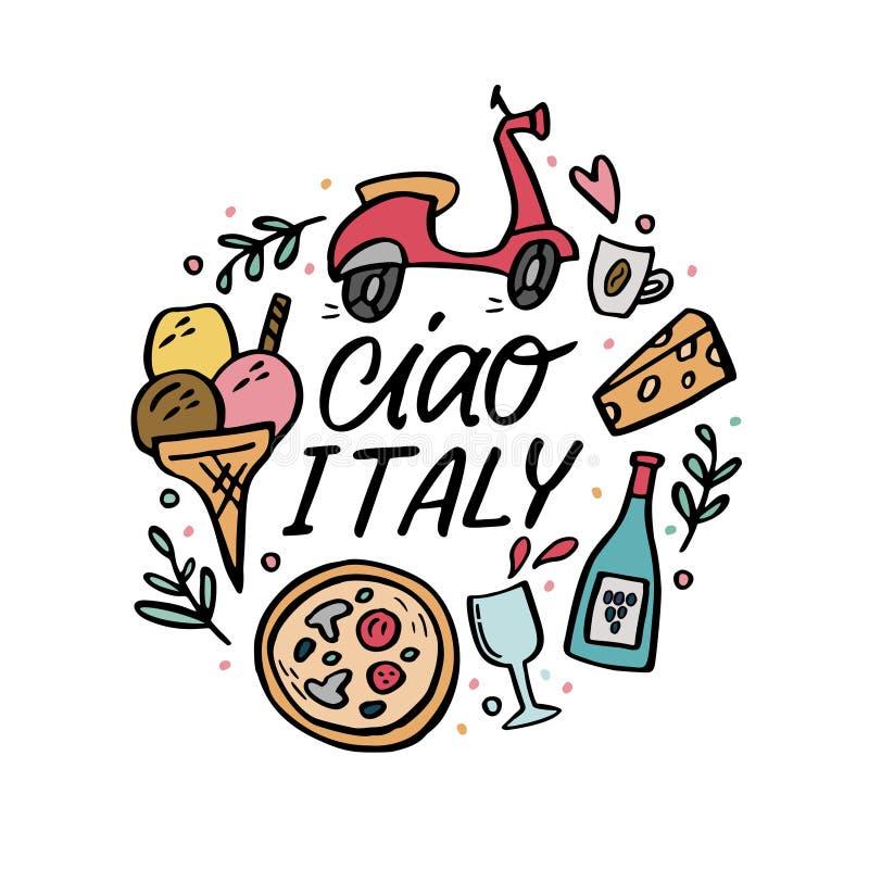 Ciao Włochy round skład z tradycyjnymi symbolami Włochy ilustracja wektor