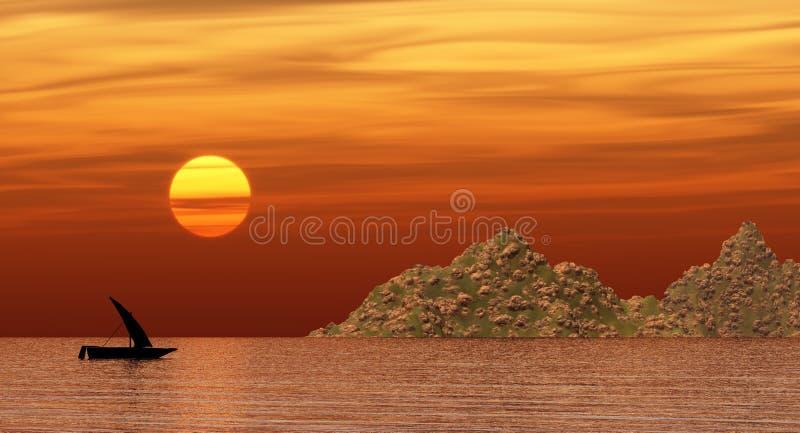 Ciarpame che galleggia vicino ad una spiaggia rocciosa al tramonto illustrazione di stock