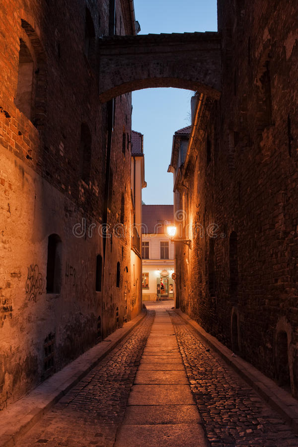 Download Ciasna Street By Night In Torun Stock Photo - Image of town, historic: 61633212