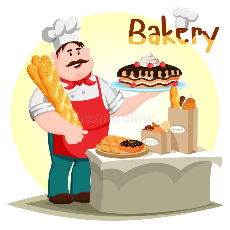 Ciasta creamie baguette w piekarnianej ręce i tort royalty ilustracja