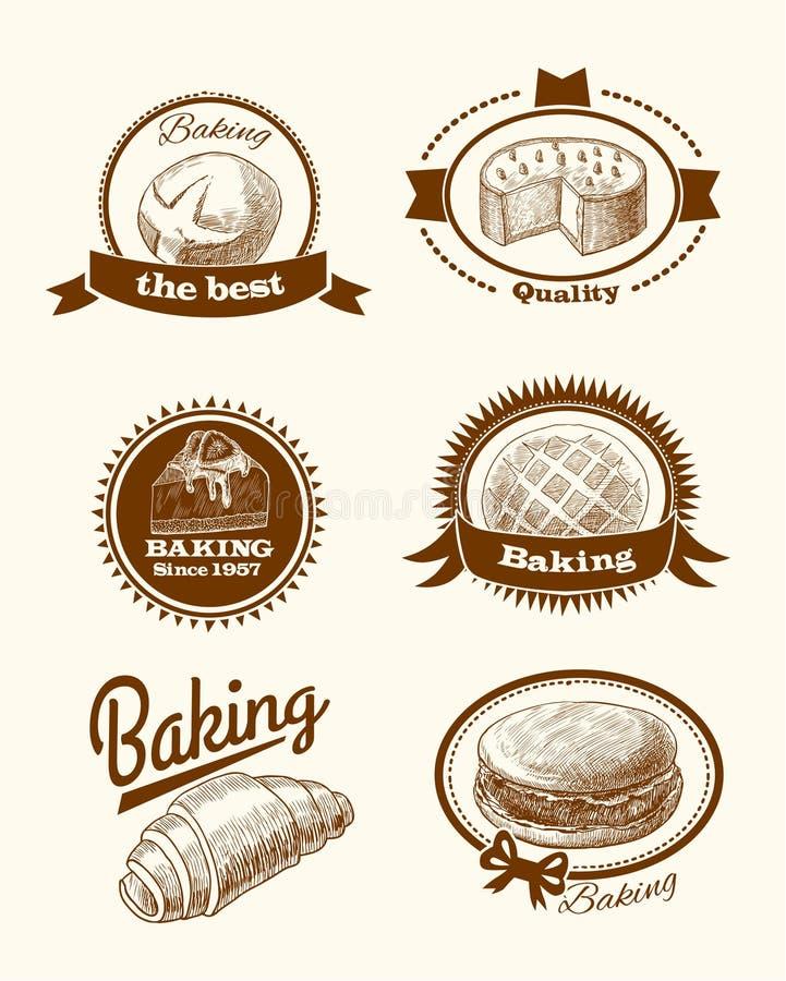 Ciasta i chleba etykietki royalty ilustracja